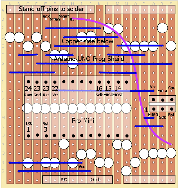 Copper stripboard layout Pro-Mini programming shield