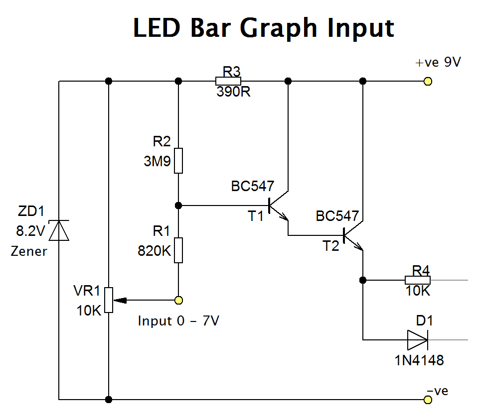LED Bar Graph With Transistors - Circuit Diagram