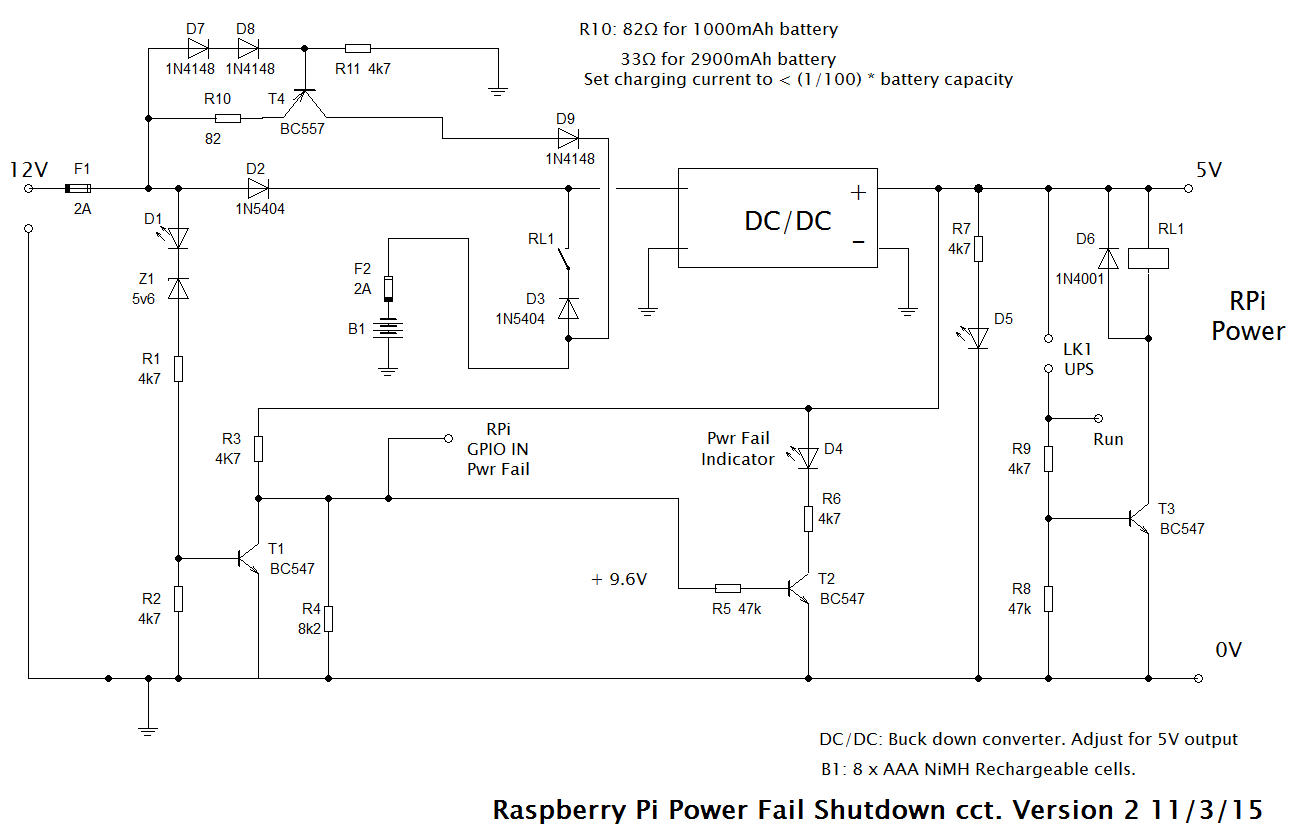 Full UPS circuit with safe shutdown