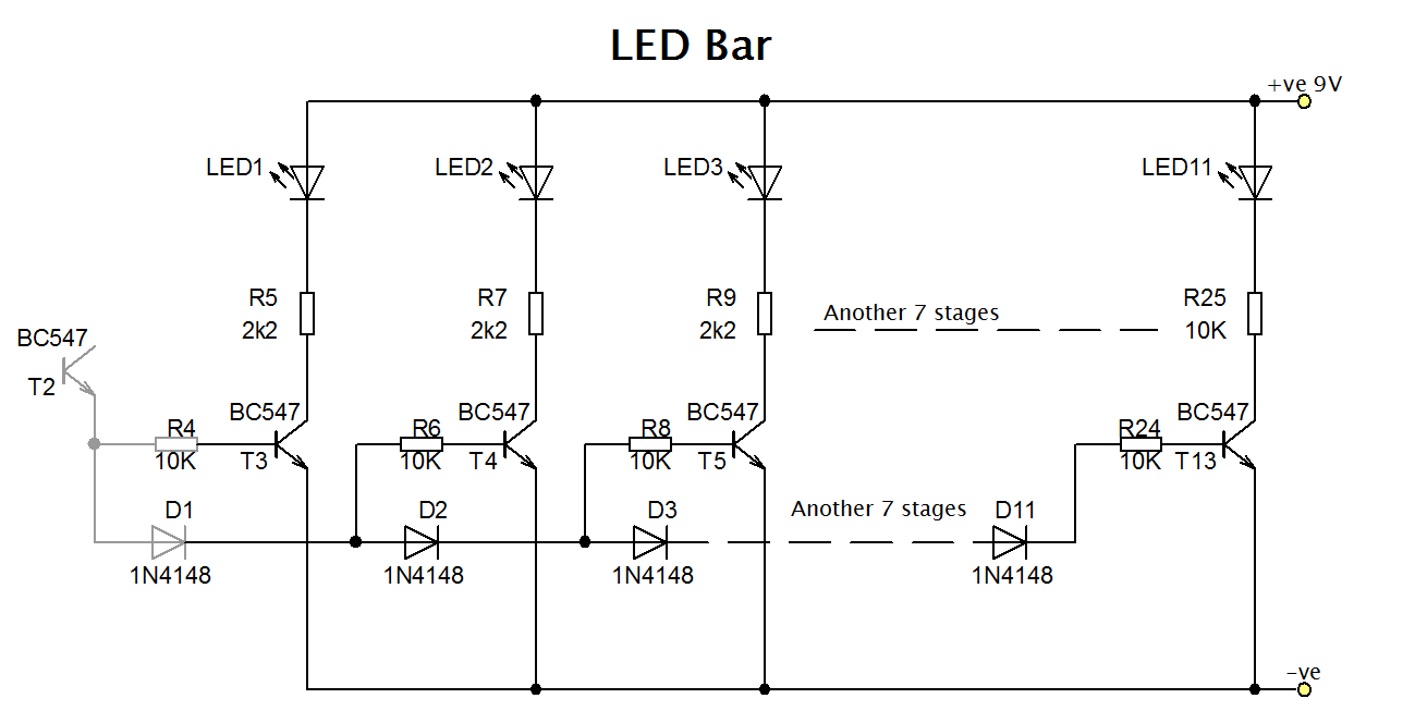 Led Bar Graph With Transistors Circuit Diagram Emitter Audio Preamp Schematic Using 1 Npn Transistor Drawing Bargraph