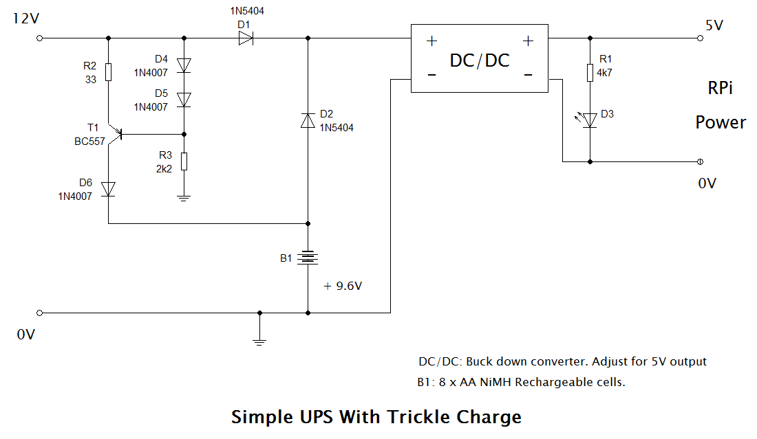 Simple UPS circuit with trickle charger